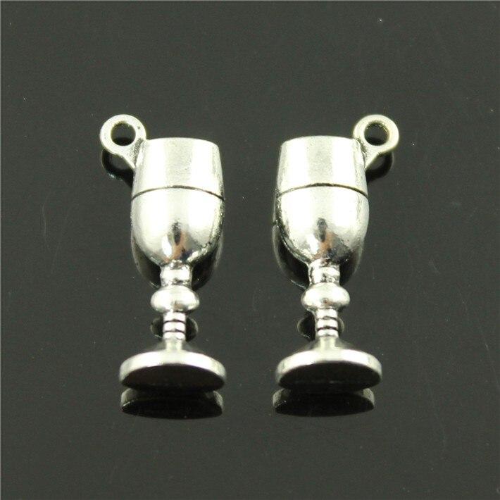 Free Shipping 30Pcs 21*7*5mm DIY accessories handmade materials retro antique silver glass pendants