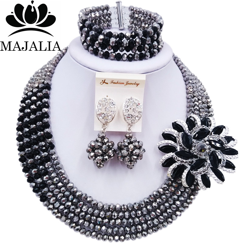 Majalia Jewelry-Set Necklace Crystal African Beads Silver Wedding Nigeria Black And 5AS045