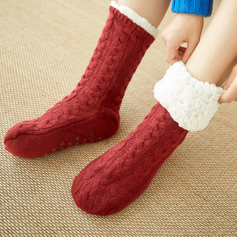 Fashion Stocks Female Women Girls Solid Cotton Wool Bed   Socks   Fluffy Keep Warm Winter   Socks   Gift Soft Floor Home