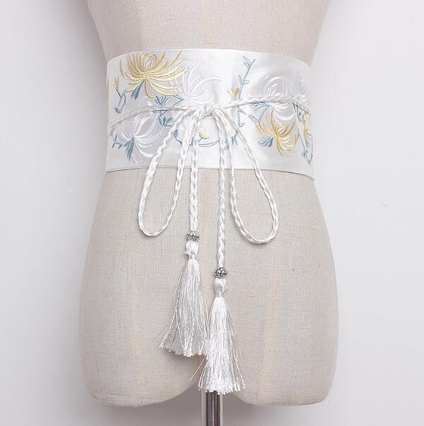 Women's Runway Fashion Embroidery Satin Cummerbunds Female Vintage Dress Corsets Waistband Belts Decoration Wide Belt R1271