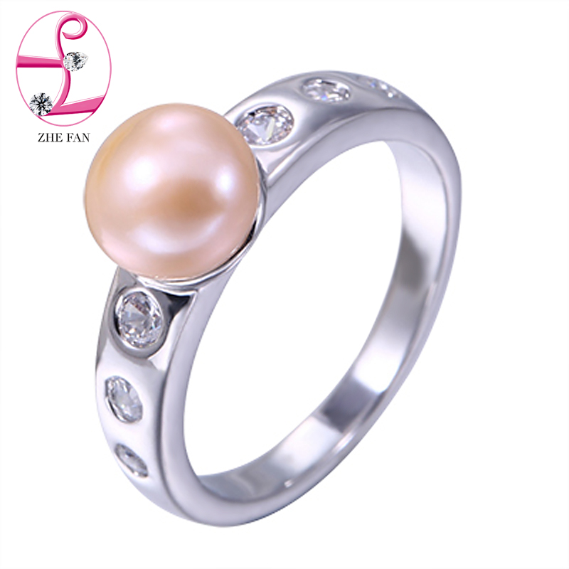 ZHE FAN White Black Pink Round Simulated Pearl Ring AAA Cubic Zircon Rings Classic For Women Party Engagement Jewelry