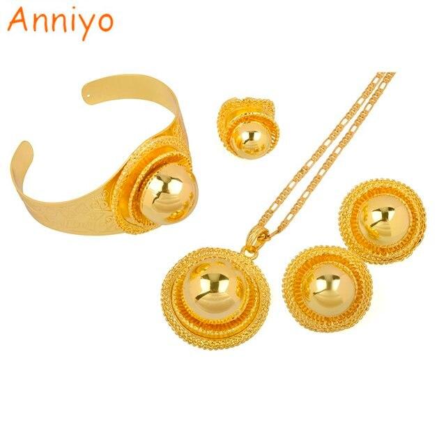 Anniyo Ethiopian Wedding Jewelry Set Pendant NecklaceEarringBangle