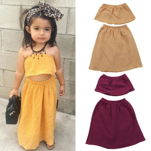 a42226ae140e Toddler Kid Baby Girls Tops Off Shoulder Crop Tops Blouse Long Skirt Party  Pageant Princess Dress Children Clothing 2pcs