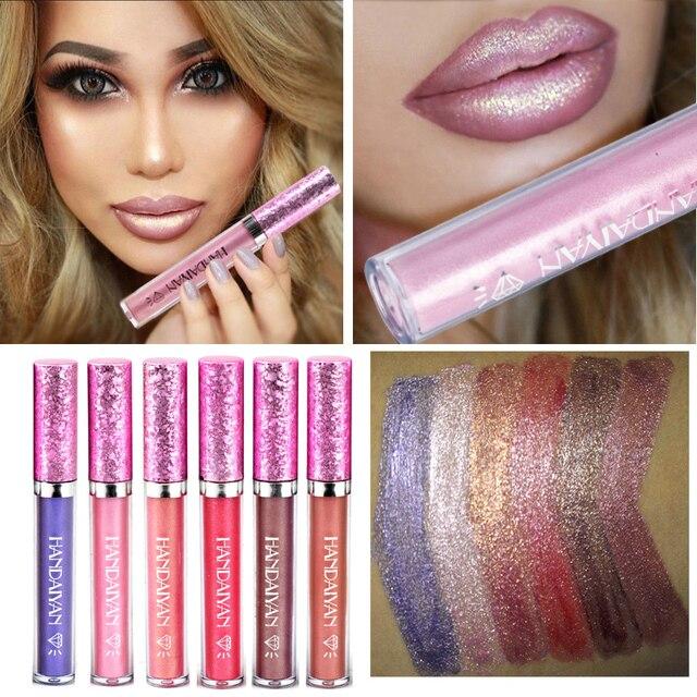 6 colores hidratante impermeable lápiz labial líquido Shimmer Matte Batom maquillaje metálico brillo labial larga duración brillante tinte cosméticos
