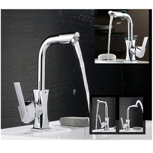 Image 2 - Xueqin 360 Rotation Spout Modern Kitchen Mixer Tap Brass Polished Single Handle Wash Basin Faucet For Bathroom Deck Mounted
