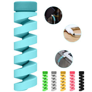 6pcsset Cable protector Bobbin winder Data Line Case Rope Protection Spring twine For iPhone Android USB Earphone Cover
