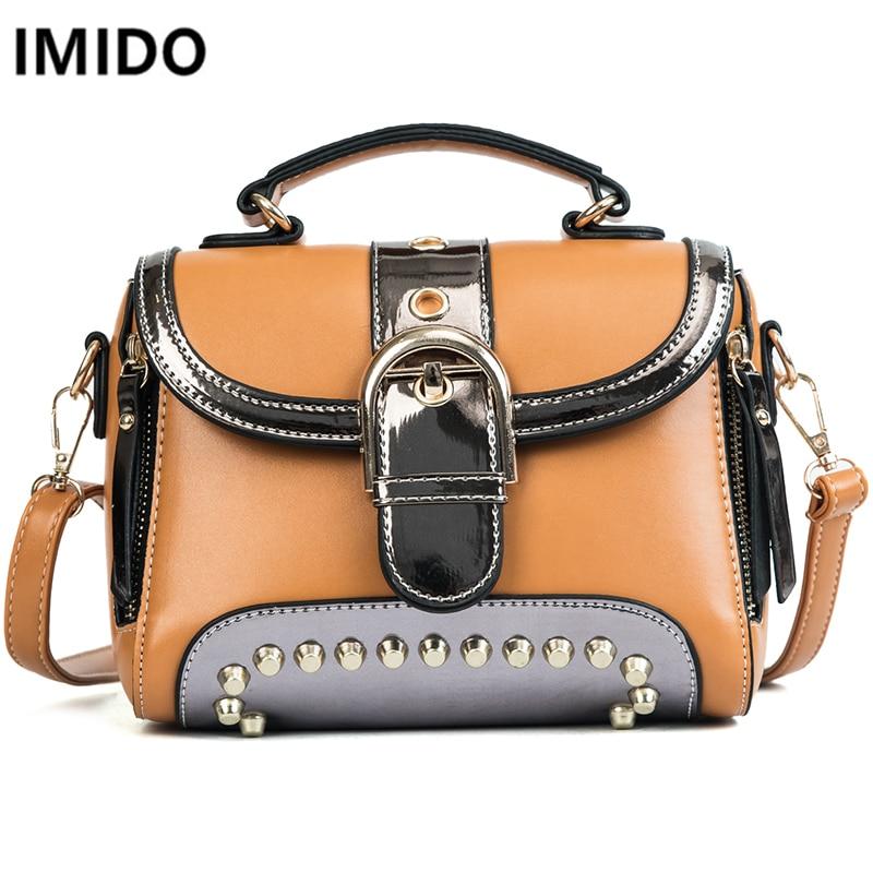 IMIDO Brand Women Bags New Rivet Fashion Handbags Shoulder Bag Women Messenger Bags Casual PU Leather Patchwork Crossbody Bag все цены