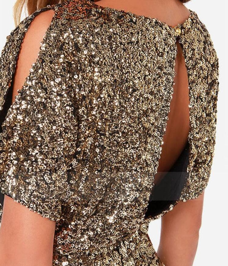 Summer Short Sequin Bodycon Dress 2018 Mini Sexy Ladies Backless Gold For Women  Clothing Paillette Night Club Party Pencil Dress-in Dresses from Women s ... cd086af23424