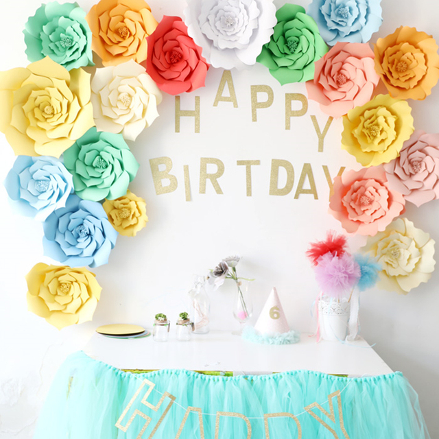 DIY Paper Wedding flowers Birthday Baby Shower Bridal Aniversary Party Idea Flower Template photo backdrops home Decoration
