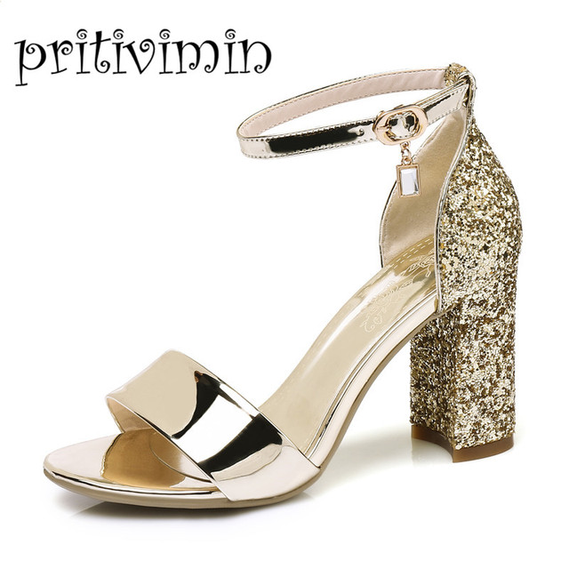 Pritivimin FN151 summer sandals laidies microfiber pointed toe t-strap  thick heels sandals gold silver