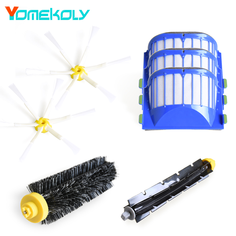Aero Vac Filter + Side Brush 6 armed kit for iRobot Roomba 500 600 Series 529 552 595 620 630 650 660 Vacuum Cleaner Parts aero vac filter bristle brush flexible beater brush 3 armed side brush tool for irobot roomba 600 series 620 630 650 660