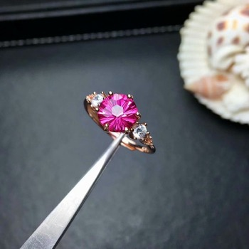 shilovem 925 silver sterling rings natural topaz pink woman open classic new fine Jewelry gitf oval 8*8mm mj0808066agfb