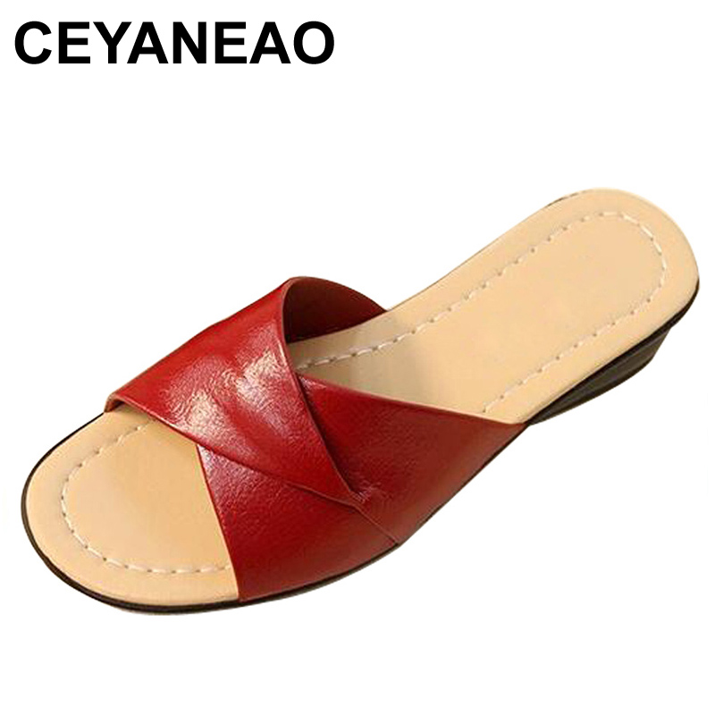 CEYANEAO2019hot Summer new soft bottom large size leather slippers non-slip comfortable woman cool slippers mother slippersE1690CEYANEAO2019hot Summer new soft bottom large size leather slippers non-slip comfortable woman cool slippers mother slippersE1690