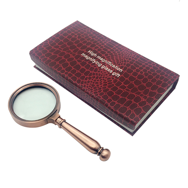 Handheld 8X Magnifier High Class Antique Bronze Handle Jewelry Loupe Magnifying Glass For Reading And Jewerly
