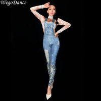 new Women Sexy Stage Jumpsuit denim print Glisten Bodysuit Dance Costume Birthday Celebrate Singer Dance Evening Bodysuit