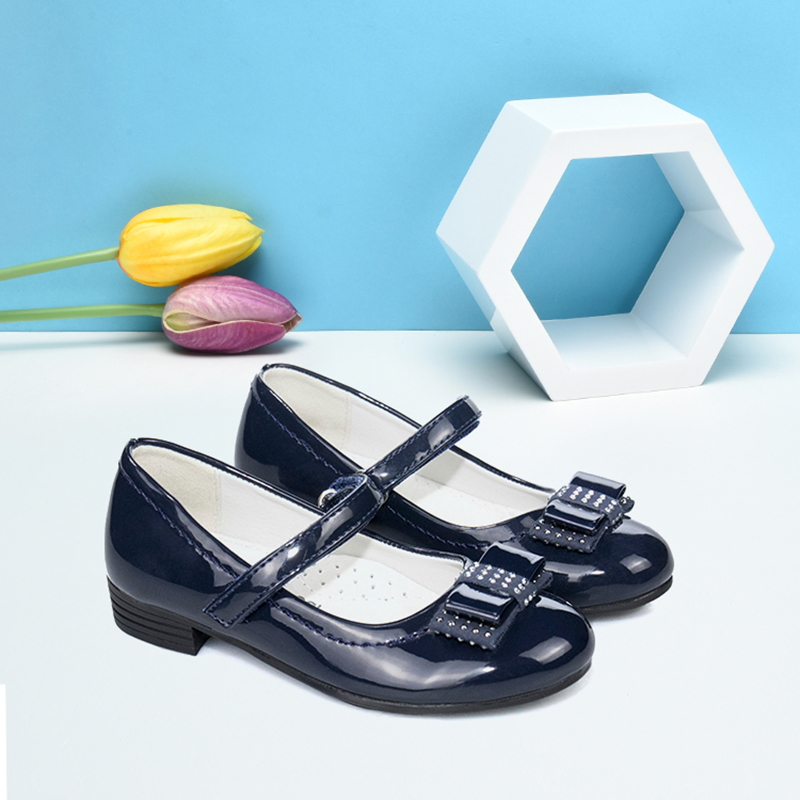 Children Party Leather Shoes Girls PU Low Heel Bowknot Girls Shoes For Dress Fashion Classic Dance Shoe Kids Footwear Black Blue