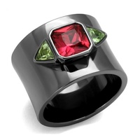 2016 New New Fashion 316l Stainless Steel Rings Black Plate Red Green Crystal Women Nice Ring
