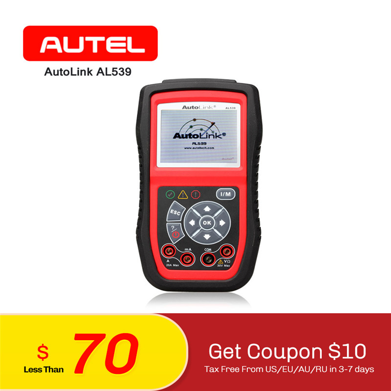 AUTEL AutoLink AL539 Diagnostics OBDII CAN Scanner Tool Car Fault Code Reader OBD2 TFT Color Screen Electrical Circuit Tester free shipping 3s 50a protection circuit bms pcm pcb battery protection board for 11 1v li ion lithium battery cell pack