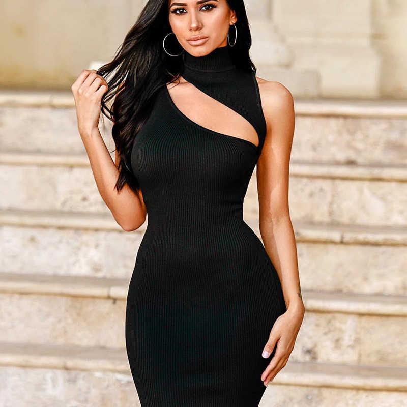 Hurtowych tanie ubrania chiny sukienka tuba urodziny stroje dla kobiet Bodycon Mini sukienka bez rękawów Sexy Hollow Slim tunika sukienki