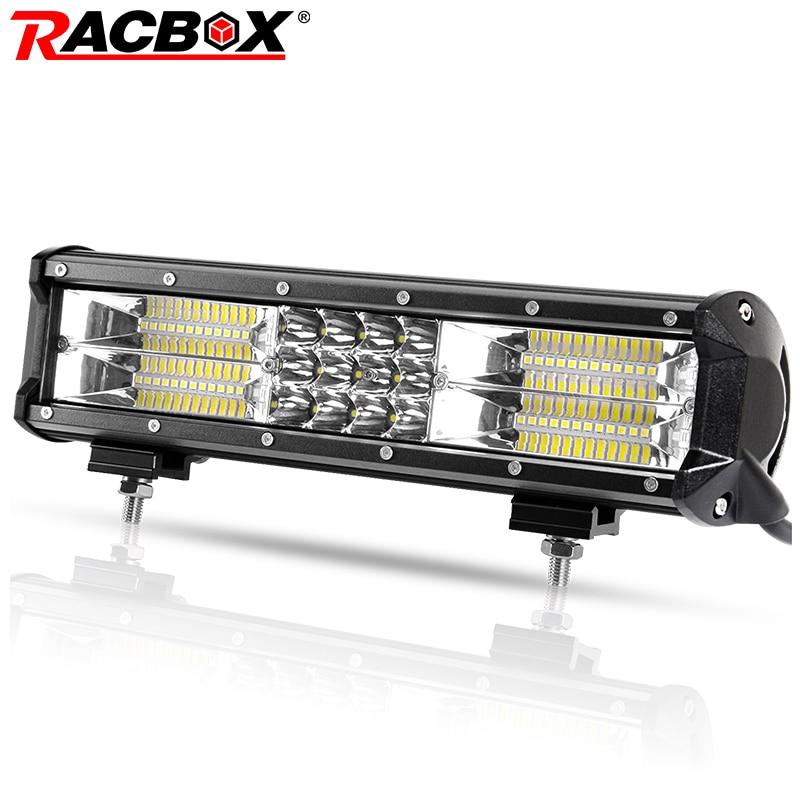 180 w 12 pouce Triple Rangée LED Light Bar Travail Large Faisceau D'inondation 12 24 v Voiture Camion 4WD ATV UTV UAZ Bateau 12 LED Conduite Travail Lampe D'appoint