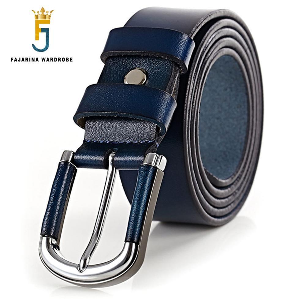 FAJARINA Lady Kvalitní 100% čistá kráva kůže kožený opasek černá modrá retro spona styl hovězí pásy pro ženy freeshipping N17FJ040
