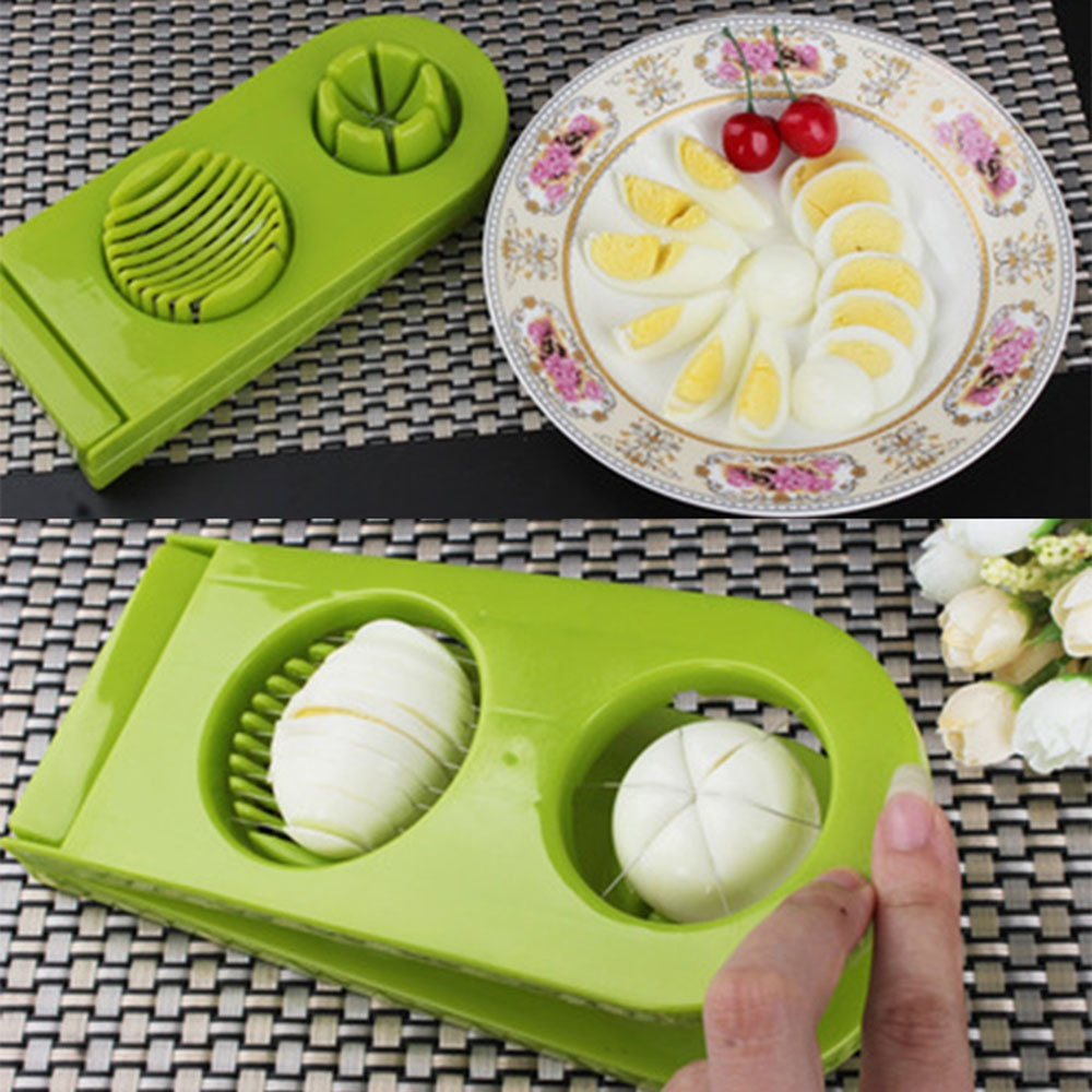 High quality 2 in1 Boiled Egg Slicer Cooked Egg Cutter Sectioner Cutter Mold Flower Edges Creative Kitchen Gadgets Egg Tools