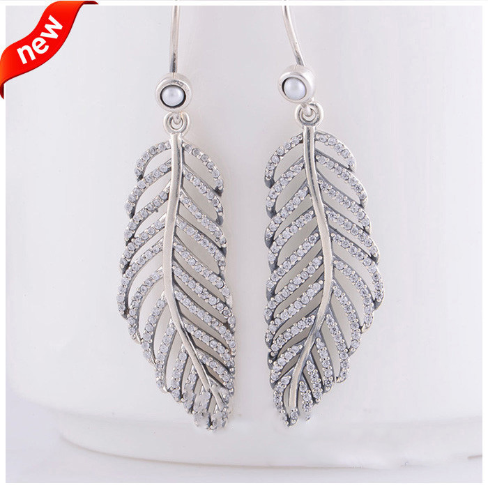 Compatible with European Jewelry Light as a feather Silver Earring with Clear CZ 925 Sterling Silver Earing for Women DIY Making