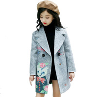 2018 Girls Clothes Trench Coats Jackets Kids Windbreakers Spring Jacket Children Outerwear Wool Dress Coat