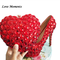 Love Moments Red Heart Bag and shoe Ladies platform shoes for woman Wedding shoes Bride High heel Round toe Big size shoe women