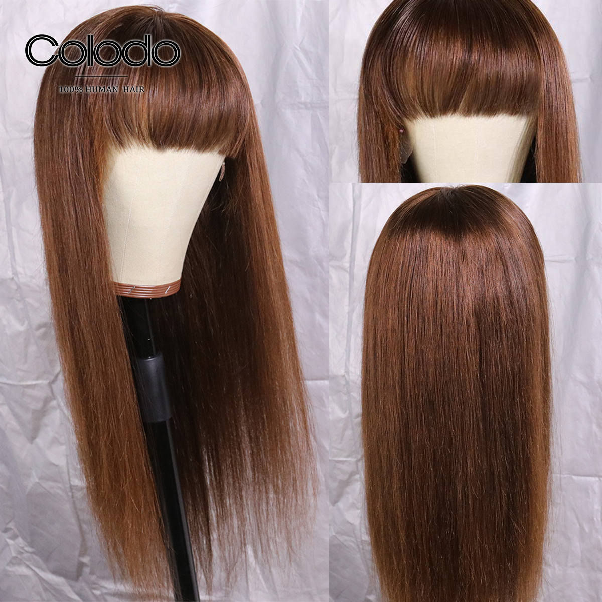 COLODO Brown Color Human Hair Wig Brazilian 99j Straight Wigs With Bangs Remy Hair Lace Front