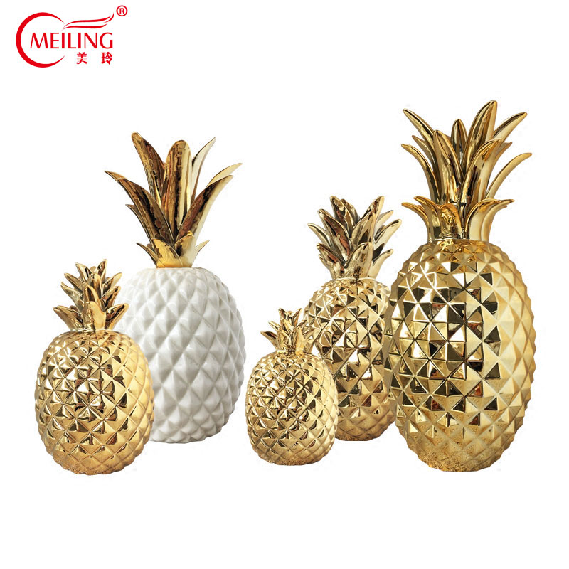 US 8 7 29 OFF Luxury Gold Ceramic Pineapple Home Decoration Accessories For Living Room Dining Table Wedding Centerpiece Nordic Fruit Figurine In
