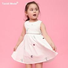 7f658c1374865d4 2018 Летнее платье для девочек из 100% хлопка с вышивкой бабочка белый Цвет  одежда для