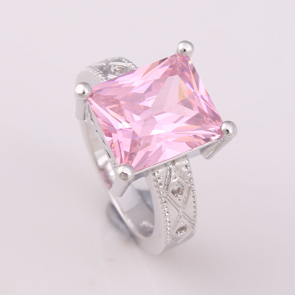 Aliexpress.com : Buy large women Wedding Rings square hot pink paved ...