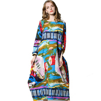 Winter Autumn Graffiti Dress Punk Hip Hop colorful long sleeve cotton linen Dress Big Size 4xl Hippie Dresses Flower Bud Dress