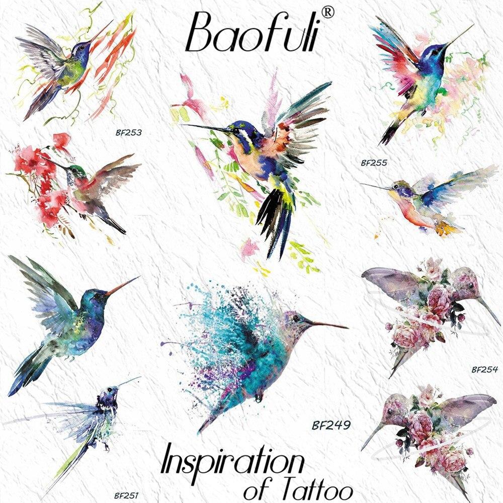 BAOFULI Watercolor Hummingbird Branch Temporary Tattoo Sticker Women Body Art Tatoos Waterproof Arm Neck Flash Fake Tattoo Paper