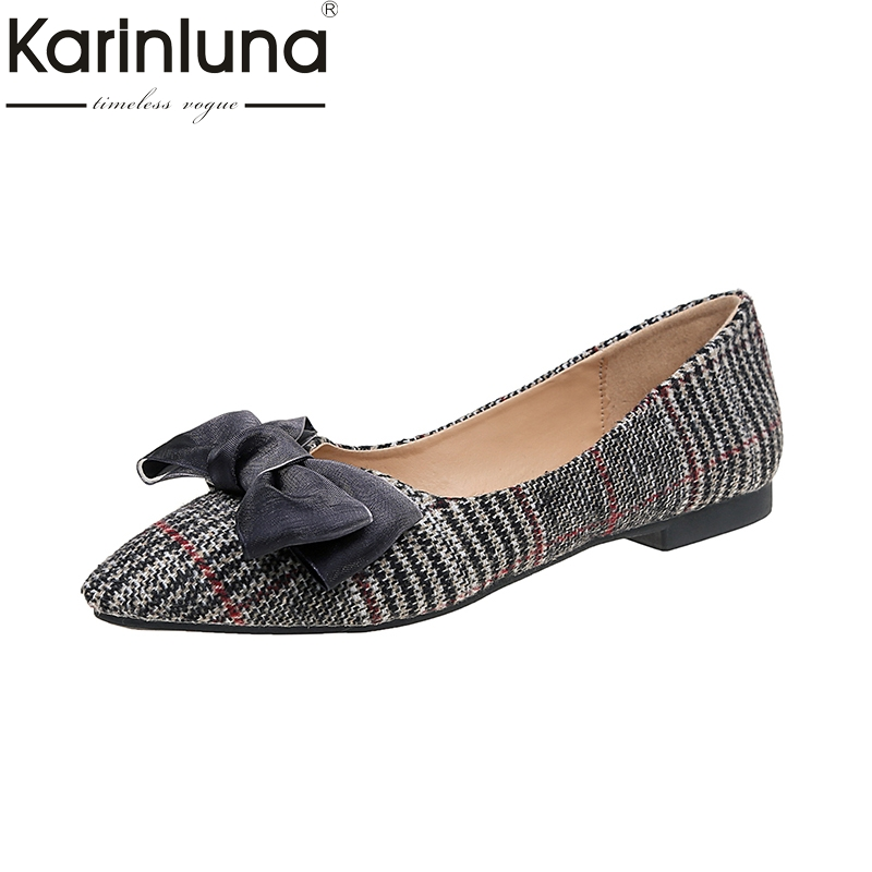 KarinLuna 2018 Wholesale Dropshipping Concise Bow Pointed Toe Flats Shoes Women Fashion Spring Summer Shoes Footwear pu pointed toe flats with eyelet strap