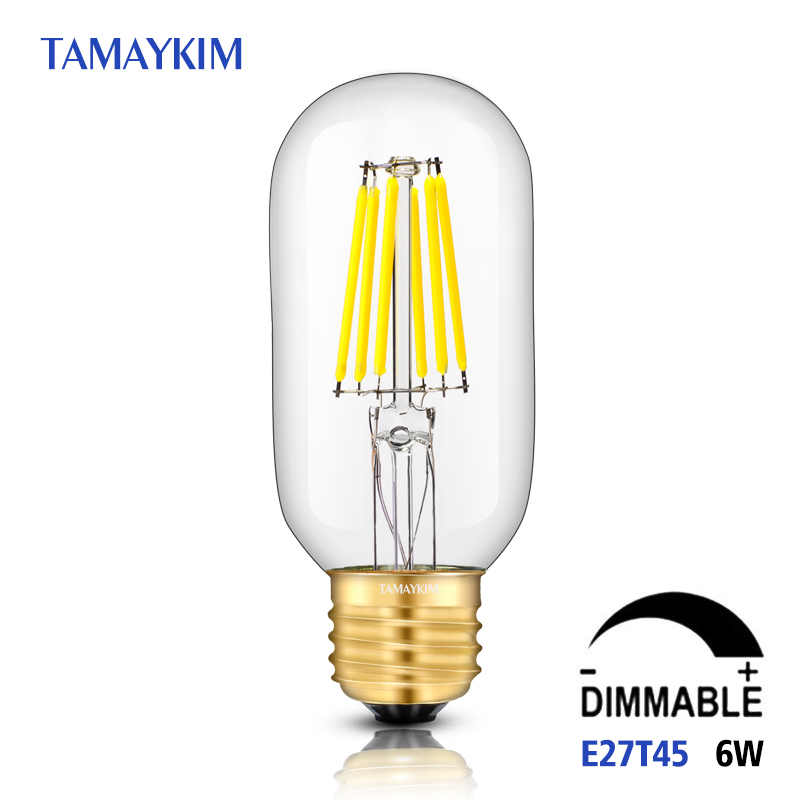 Dimmable E27 T45 LED Vintage Filament Tubular Light Lamp,6W 220V-240V,Clear Glass Retro Edison Bulb,Cold White Warm White 5pcs e27 led bulb 2w 4w 6w vintage cold white warm white edison lamp g45 led filament decorative bulb ac 220v 240v