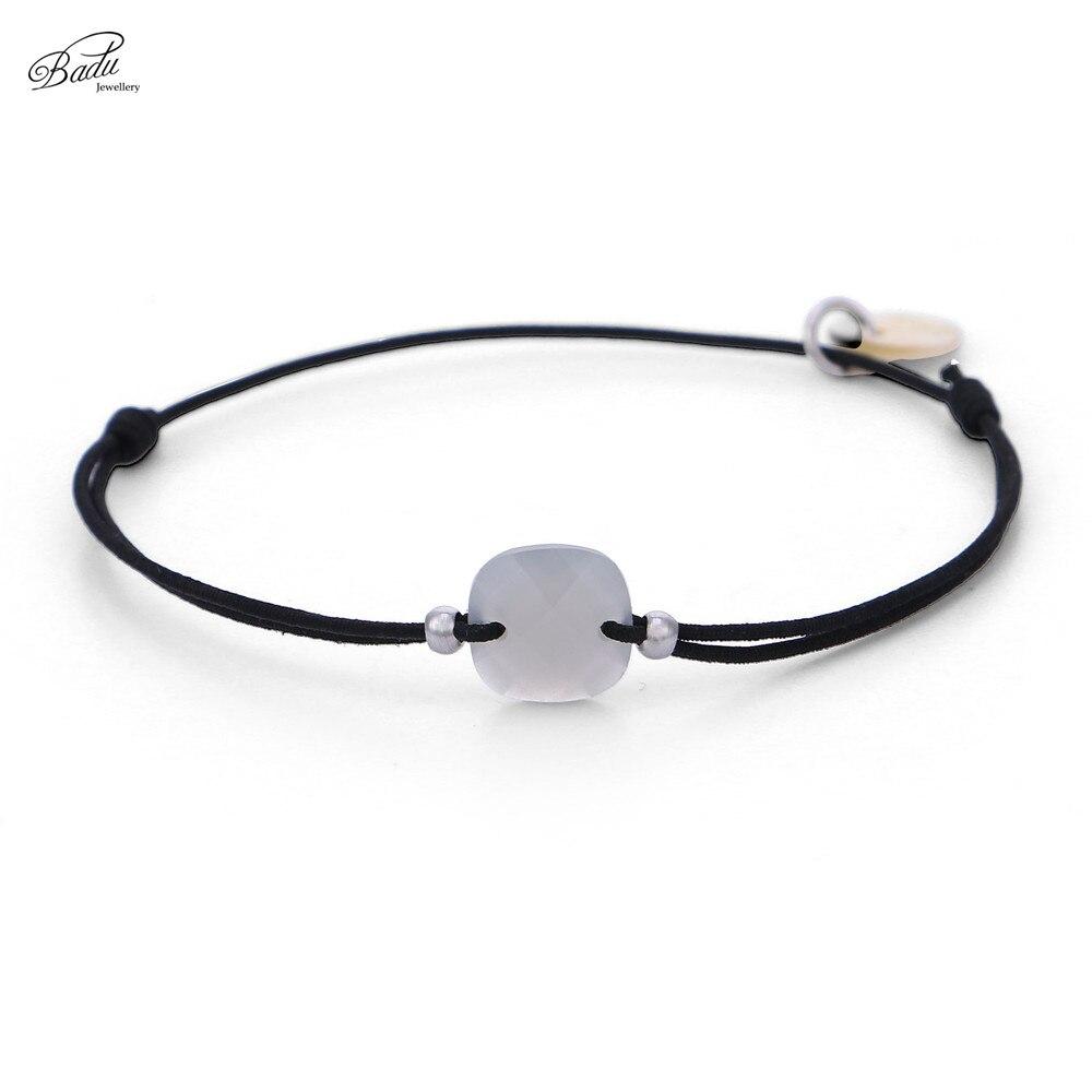 Badu Black String Bracelet for Women Square Acrylic Charm Bracelets Fashion Jewelry Gift for Girls Adjustable Cord Charm