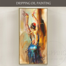 Excellent Artist Hand-painted High Quality Abstract Dancer Figure Oil Painting on Canvas Sexy Dancer Portrait Oil Painting beautiful colors professional artist hand painted high quality abstract dancer lady dancing back oil painting on canvas