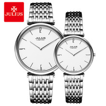 Julius Famous Brand Watches Stainless Steel Ultra Thin 6.5mm Lover's Watches Couple Watches For Girl Friend Pair Watches JAL-032