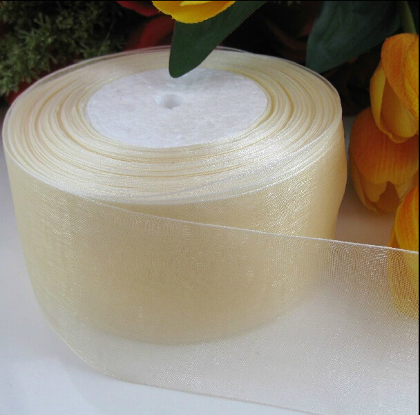 (10 yards/lot) 2'' (50mm) Beige organza ribbons wholesale gift wrapping decoration Christmas ribbons D123