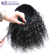 Beaudiva Brazilian Curly Hair Weave Ponytail 100% Human Hair Natural Color Hairstyles Pony Tail Heat Resistant Non Remy(China)