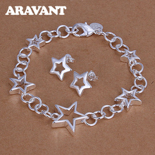 New Fashion 925 Silver Jewelry Sets Star Earrings Bracelets For Women Wedding Bridal Jewelry Sets недорого