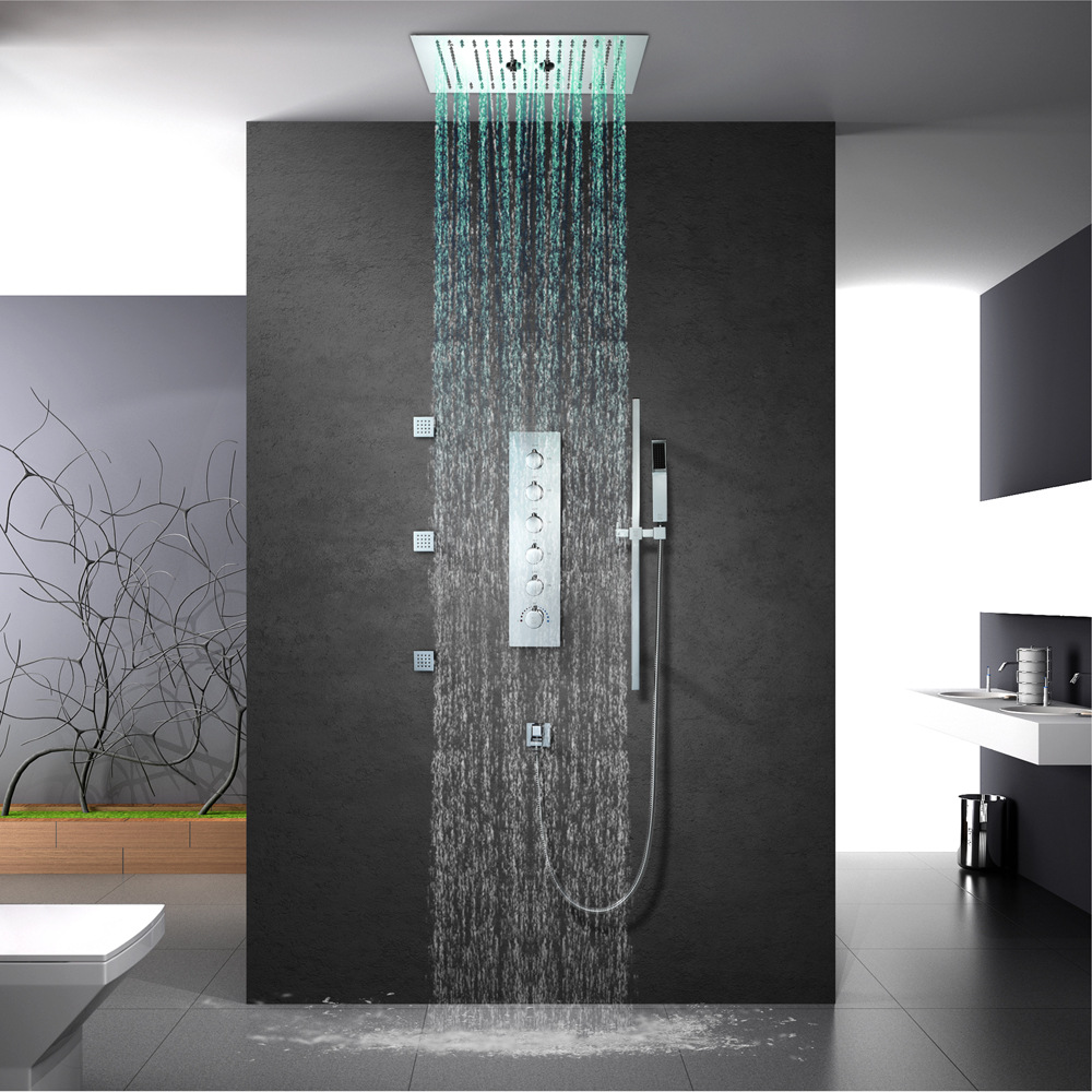 Bathroom Shower Faucets Accessories 16 Inch Shower Head Ceiling Rainfall Shower, Misty, Small Rain Shower Panel Thermostatic new design bath electric led ceiling recessed rainfall shower head 304sus bathroom accessories douche overhead shower panel