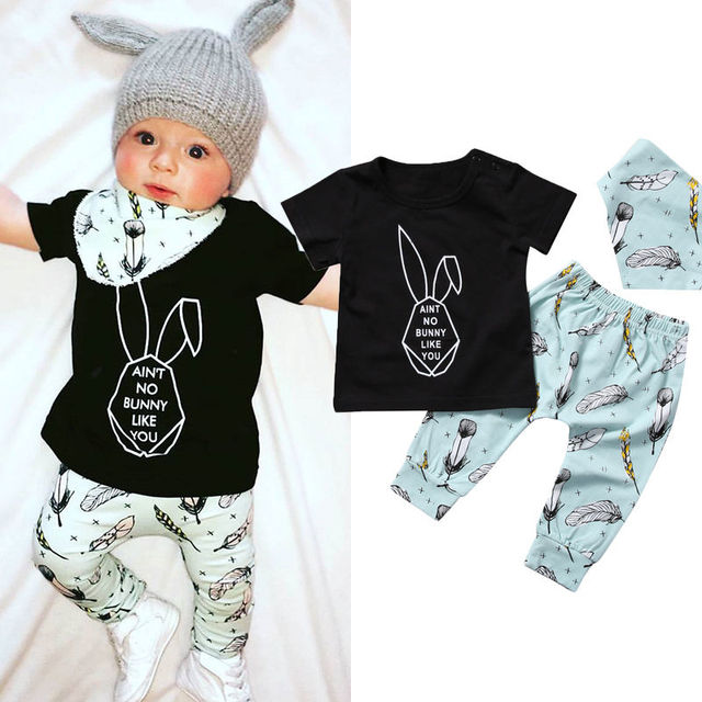 60a9eb52c2fab 3pcs Set Toddler Newborn Baby Boy Girl BUNNY T-shirt Tops+Pants  Handkerchief Outfits Set Clothes
