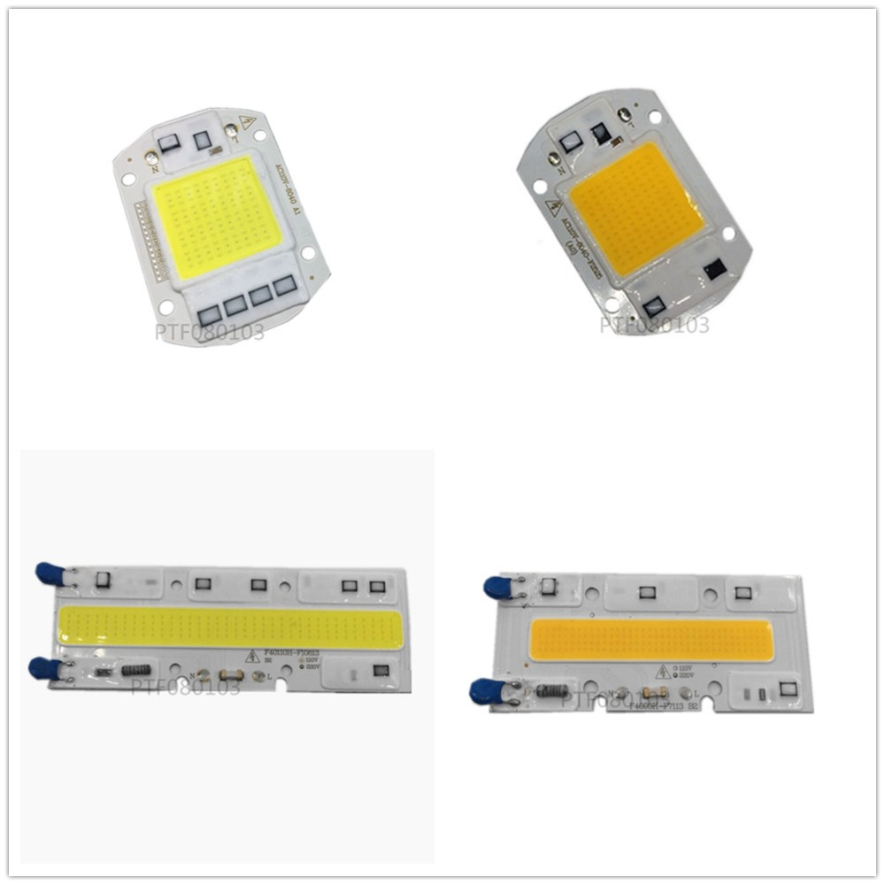 220V 20W 30W 50W 70W 100W LED Floodlight COB Chip, Integrated Smart IC Driver, Warm Whit ...
