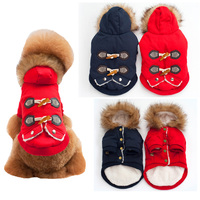 Fashion Retro Warm Pet Dog Cat Clothes Winter Cotton Padded Dog Coat Horn Button Fur Hooded
