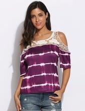 Women Purple Cotton Chiffon Cold Shoulder Half Sleeve Lace Patchwork T shirt Top