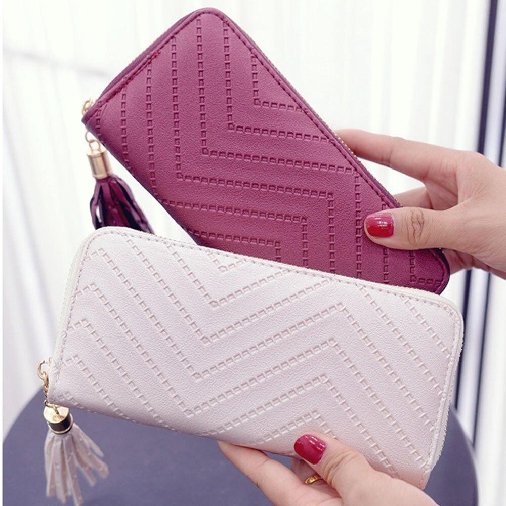Женский Длинный кошелек ISKYBOB, модель 2019 года, клатч, сумка-клатч, кошелек с кисточкой, женский длинный кожаный кошелек
