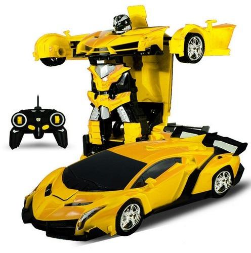 Rc transformador 2 en 1 RC coche de deportes autos transformación Robots modelos RC coche de Control remoto de lucha de juguete regalo
